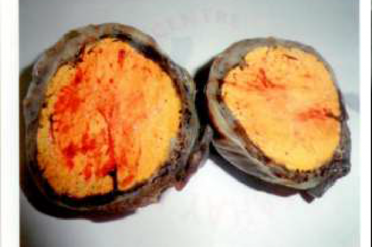 Cut section of ovary with cheesy material